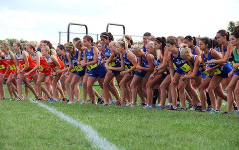 The Lady Indians position themselves before the shot goes off to start the race.  The cloudy sky and the cool air was perfect weather for running, and the girls took advantage of it.