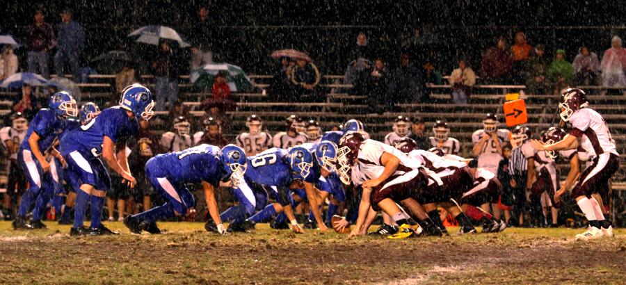 "Lake Central versus Chesterton in cold wind on Oct. 4. ""Honestly I think [the rain] made us play better,"" Dylan Brown (9)."
