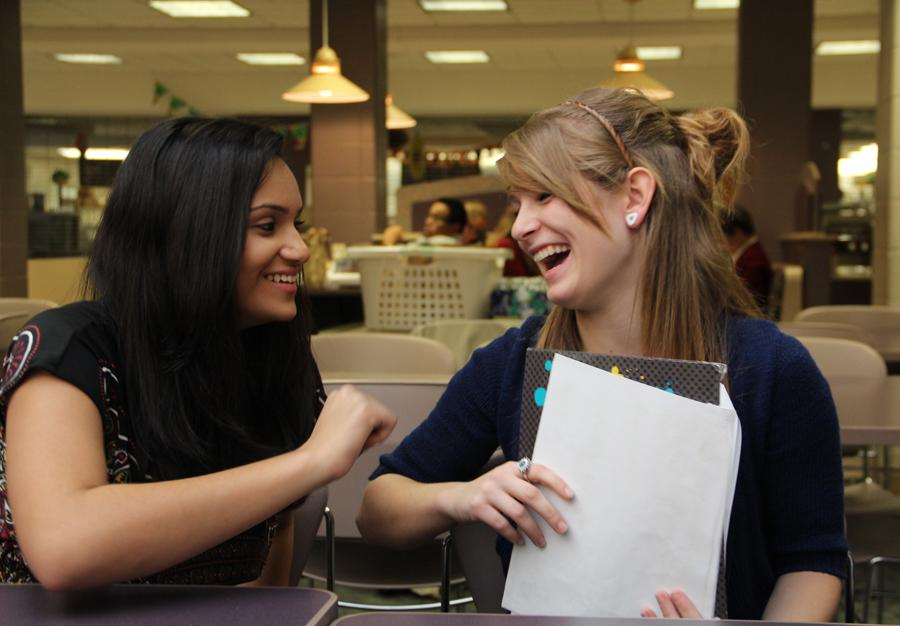 Niji Shah (9) and Amanda Mitcheltree (9) review spellbowl words from the 3,000 word list before their competition on October 15, 2012. LC placed second in their division at the competition.