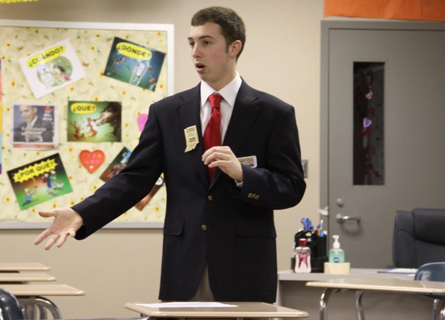 Andrew Reesman (12) presents his speech for his Broadcast News presentation. Reesman and his team won a first place ranking for the BPA competition in January.