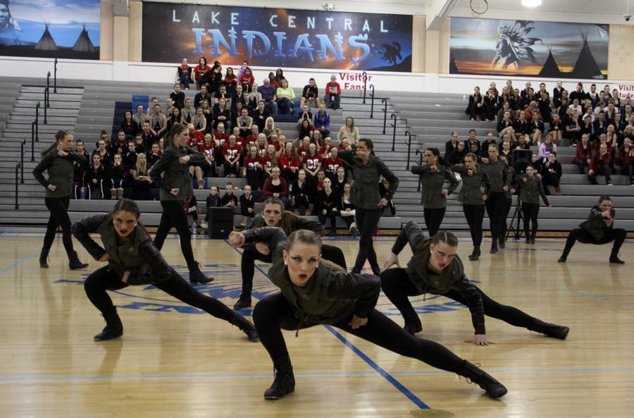 The varsity Centralettes perform their hip-hop routine at the 20th Annual Lake Central Dance Invitational.  Every year, teams from schools around the state come to Lake Central for this competition.