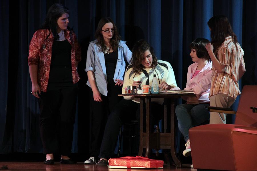 "Tabitha Prowse (10), Sarah Colby (10), Lauren Bourget (11), Brianna Mamelson (11) and Lauren Mirkov (11) act out their scene.  ""Steel Magnolias"" was one out of three shows put on by the Advanced Drama classes."