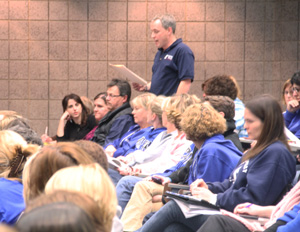 Robert Gustas (Math) speaks at the school board meeting on March 4. Teachers were upset over the raises given to 11 school administrators.
