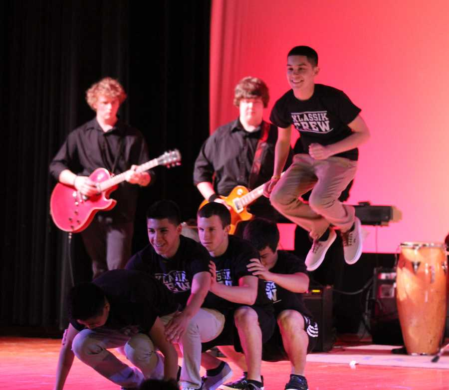 The dancers of the act named The Losers  perform at the Talent Show April 26.  The group ended up winning first place overall at the show.
