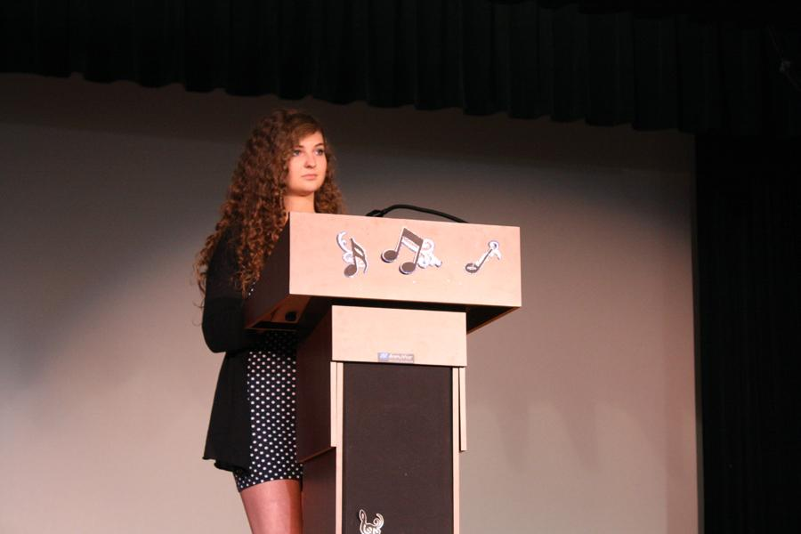 Alyssa Graziani (11) stands on stage to take questions after her officer speech. The results of the election will be announced at the theatre banquet on May 10th.
