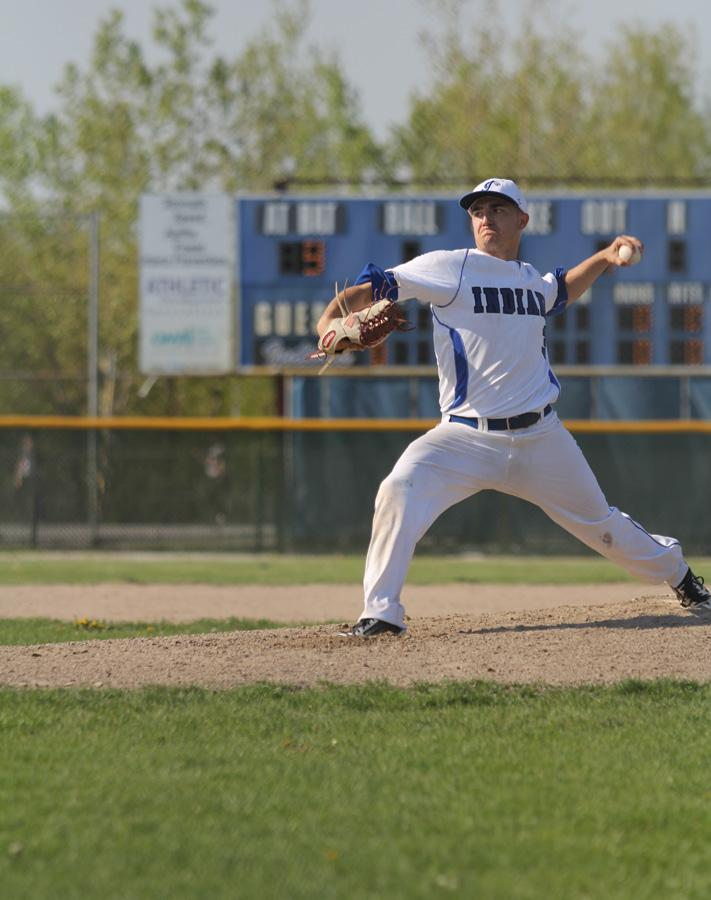 Nicholas Kellams (12) throws a pitch against LaPorte on Wednesday.  The Indians beat the Slicers 4-0.