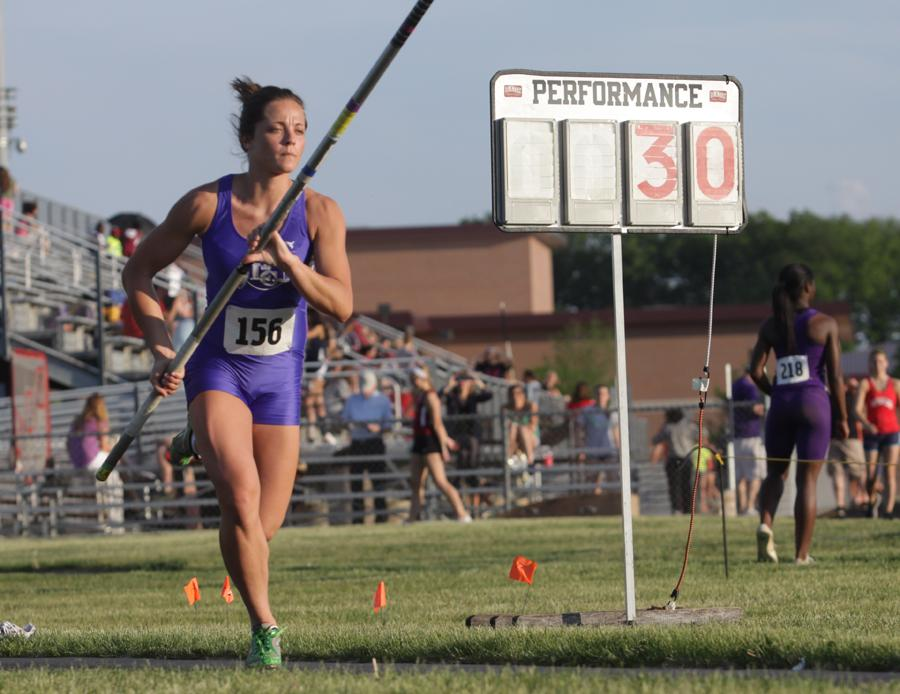 Katelyn Brown (12) sprints to complete a vault. Brown is one of the pole vaulting trio of the Lake Central team and is going to compete at State on June 1.
