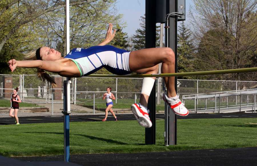 Riley Wayco (12) clears five feet in high jump and wins the event for the night.  Lake Central won the meet against Chesterton and LaPorte on April 30.