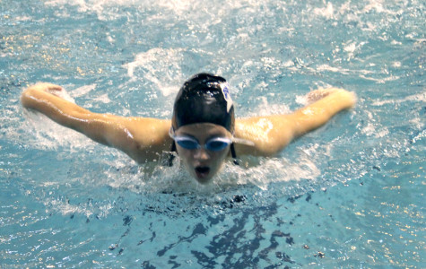 Ana Zanza (9) butterflies her way through the water on Tuesday's meet.  It was the first meet of the season.
