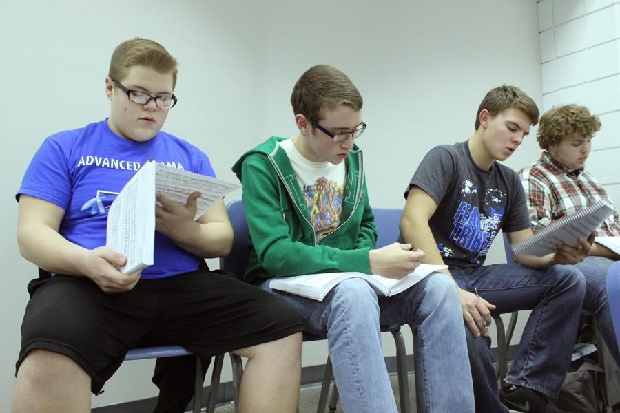 Jackson DeLisle (10), Nicholas Kiepura (11), Brett Balicki (10) and Parker Danner (9) practice their piece for the song. At the first rehearsal, the cast worked on some of the show's bigger numbers.
