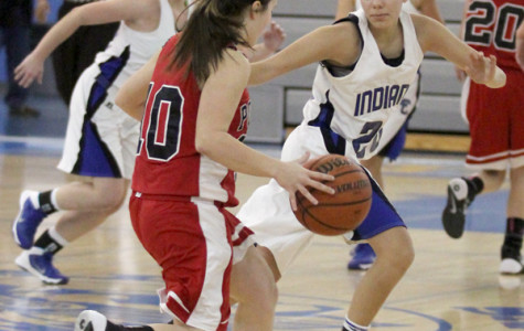 Kylie Extin (9) defends against a Portage team member in order to prevent Portage from scoring. The Lady Indians' defense continually blocked Portage from scoring which led the team to their win.