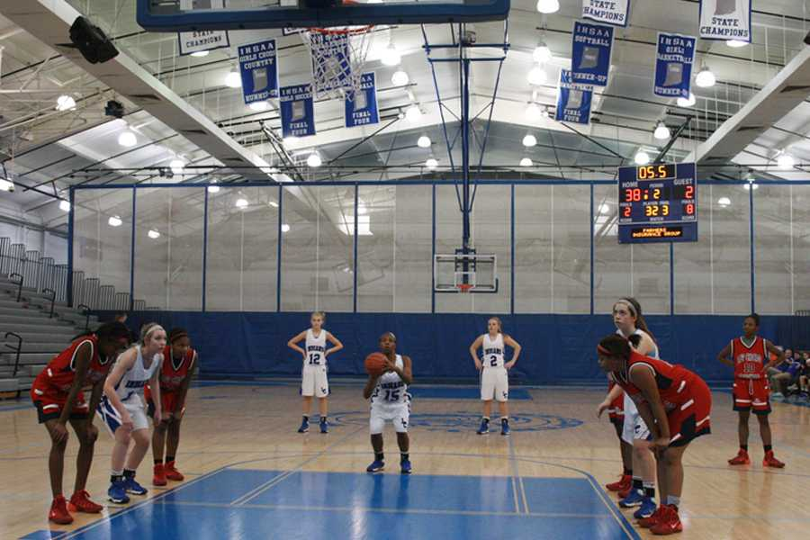 Lake Central guard Zhanae Howard (10) shoots her first free throw at the game on Dec. 18. Howard made her first and second free throw, leaving the team with a score of 40-2.