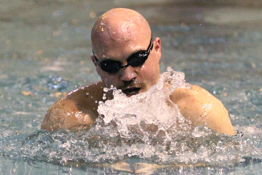 "Mr. Robin Tobias, Principal, competes in a breaststroke event during the Alumni Swim Meet. ""The event was an opportunity to reunite LC swimming and diving alumni for a final farewell to the old pool and to recognize the championship program established by Mr. Tonkovich,"" Tobias said."