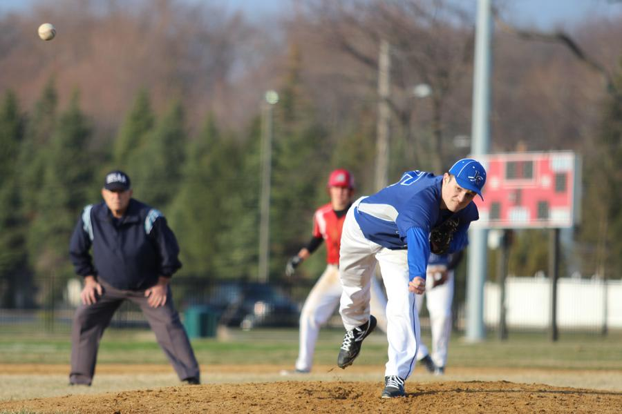 Ryan Ruthrauff (10) pitches to his Munster opponent during the JV game on April 8.  The boys won the game 6-2.
