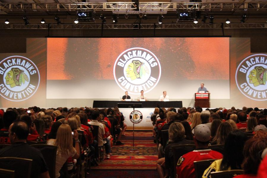 Three+Chicago+Blackhawks+players+answer+questions+from+adoring+fans.+The+seventh+annual+Blackhawks+convention+was+held+in+Chicago+on+the+weekend+of+July+18th.
