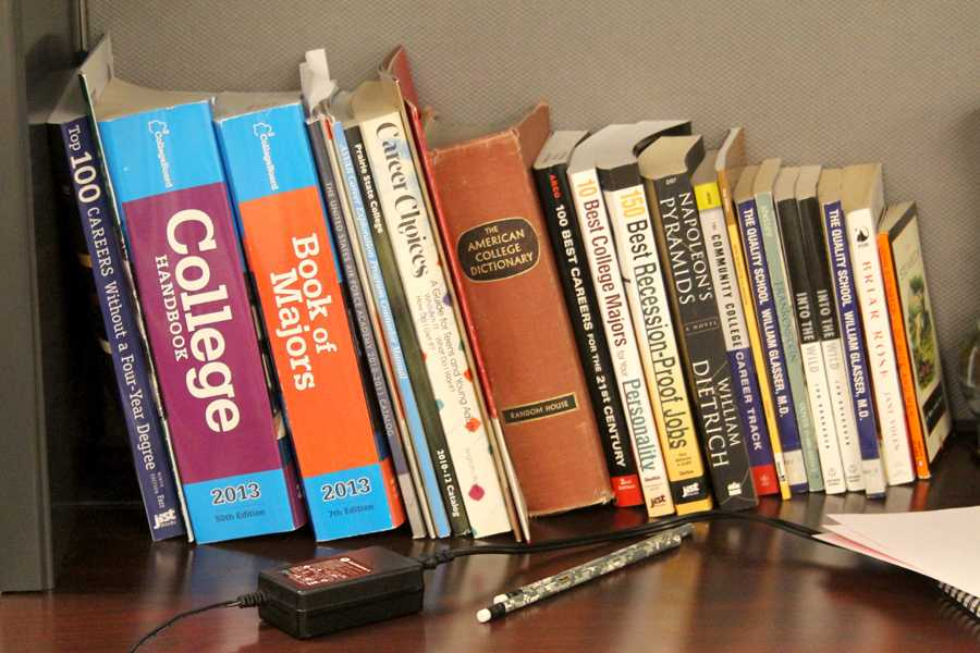 A+row+of+books+sit+stacked+on+a+shelf+in+the+guidance+office.+The+books%2C+with+topics+ranging+from+majors+to+scholarships%2C+can+be+used+by+students.