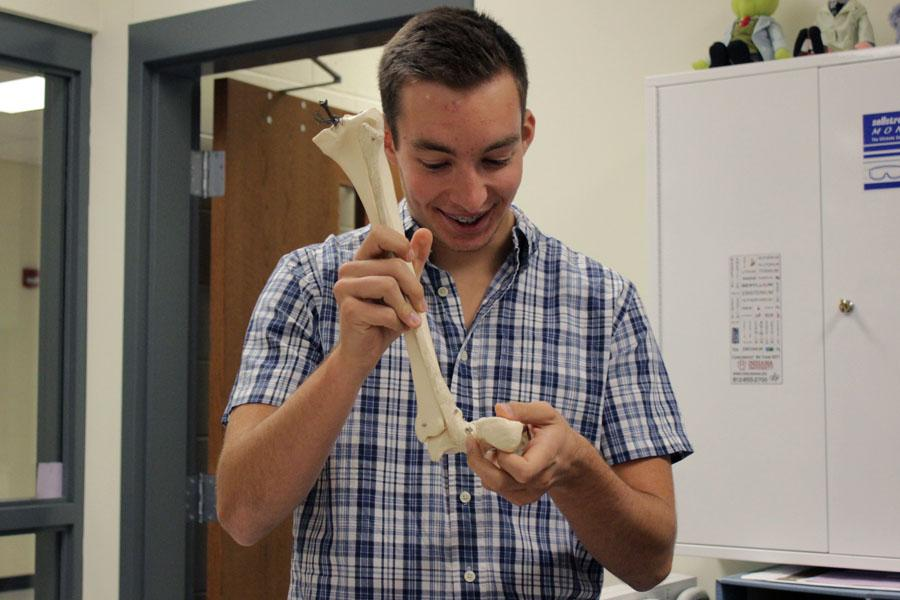 In the second part of the lab, Austin Chekaluk (11) classifies a human bone. The students were required to complete lab questions prior to starting the lab.