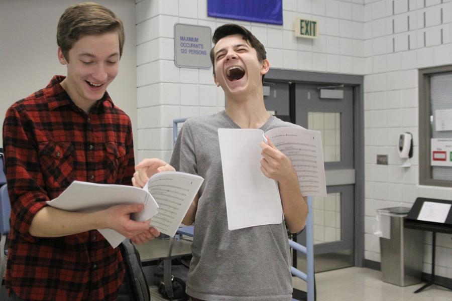 "Zachary Hansen (10) and Aaron Capello (9) crack up at rehearsal. The first rehearsals for ""Forbidden Broadway"" were split up by boys and girls."