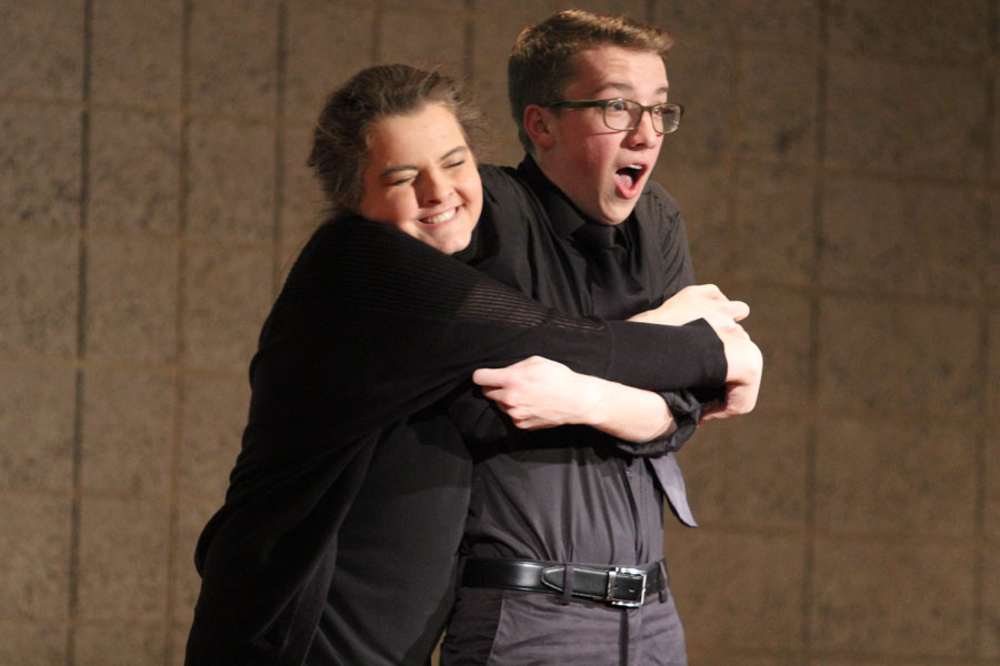 "Madison Breford (11) and Adam Gustas (10) perform the musical number, ""Button Up Your Overcoat"" from Good News as their individual act. The pair performed one of many musical acts for the individual performance category."