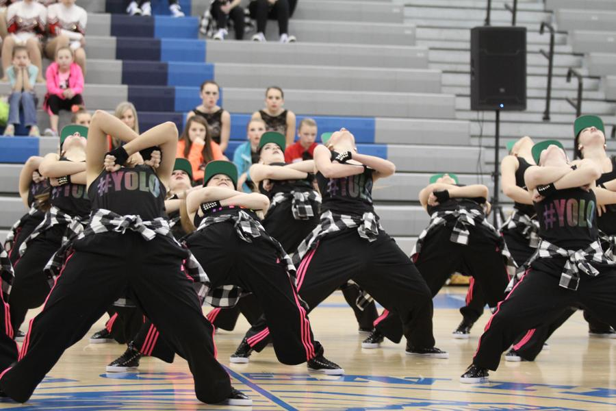 The JV Centralettes lean back in unison. Their dance had a lot of great energy this year.