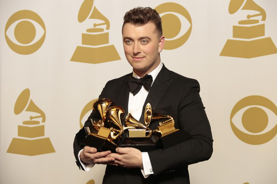 At the Grammys on Feb. 8, Sam Smith wins four top awards. He won Song of the Year, Record of the Year, Best New Artist and Best Pop Vocal Album.