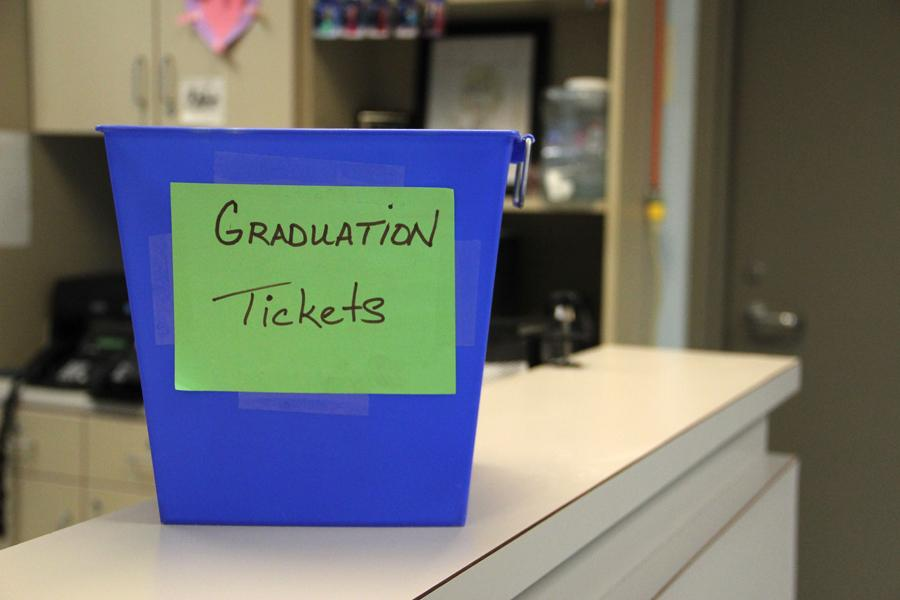 Commencement tickets can be dropped off in this bin in the office. Seniors had to drop off the ticket order form by March 19.