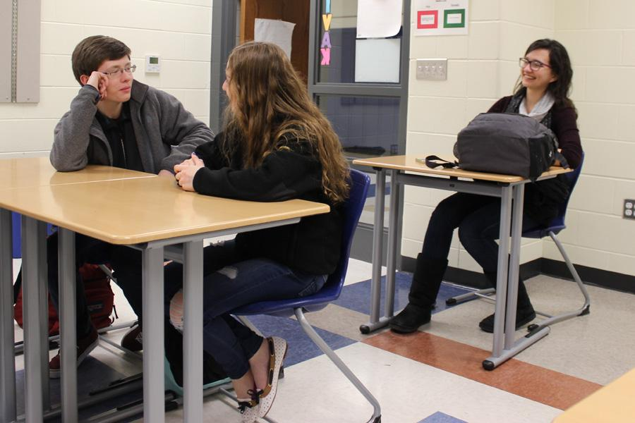 Sean Meyer (11) tells the girls how he wants to be president and what he is hoping to achieve as President. Meyer is hoping to make prom one enjoyable for all.
