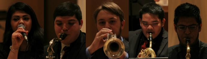 One of the features of Lake Central's Jazz Ensembles is the opportunity to perform a solo.  Most of the solos performed were preselected in class time, but a few of the solos performed at the scholarship dinner were improvised on site.  Pictured left to right are:  Leslie Lopez  (11), Nicholas Perez (12), Kenneth Wolfrum (11), Eliasart Rodriguez (11), and Mateo Morales (11).