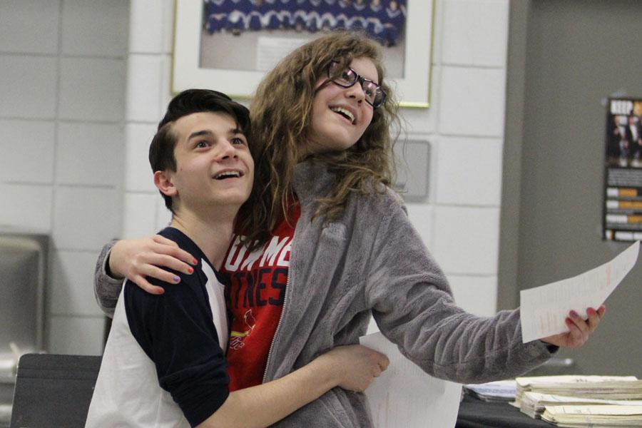 "Aaron Cappello (9) and Sophia Boeckstiegel (9) while auditioning in the play ""Crushed"". The show followed several couples in their attempts at love."
