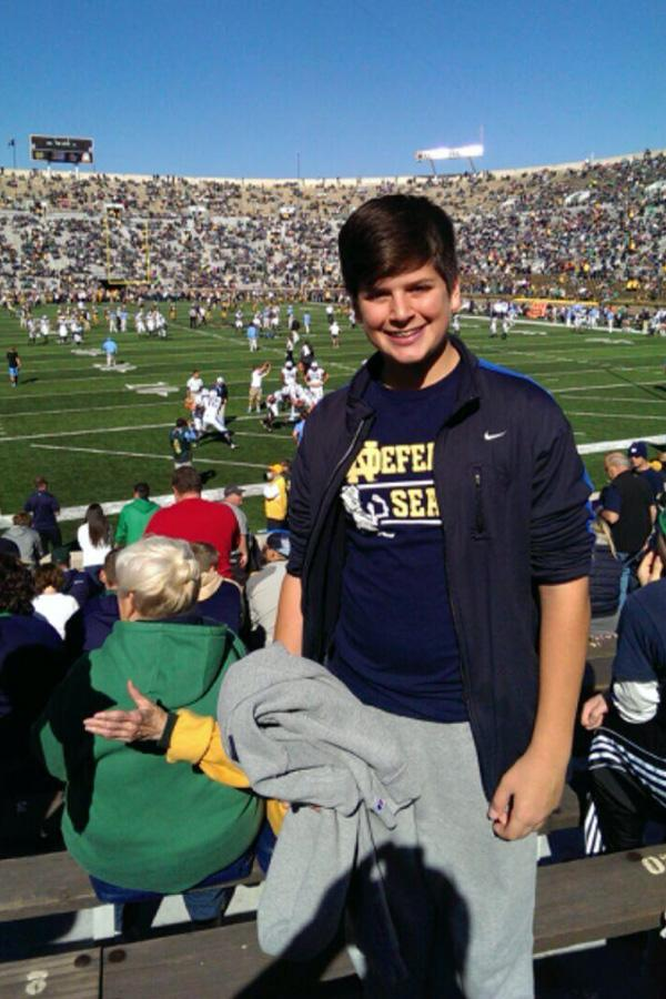Eric Mender (9) at a Notre Dame football game. He played football this past year for LC but is not continuing on in his high school football career. Photo submitted by: Susan Mender