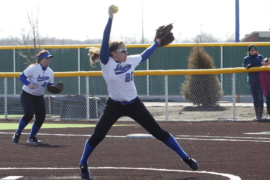 Madisen Tucker (9) gets ready to pitch. Tucker pitched for the entire game against the Kimberly Papermakers.