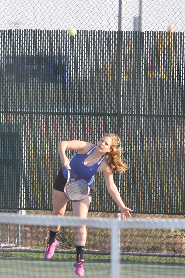 Emily+Birlson+%2812%29+returns+the+ball+to+her+Hanover+opponent.+Birlson+and+her+partner%2C+Nanveet+Kaur+%2812%29%2C++played+no.+1+varsity+doubles.