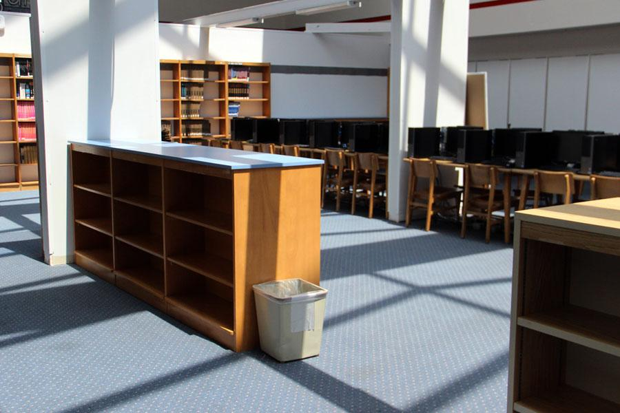 Shelves located in the temporary library are being packed up.  The new library is expected to open at the beginning of next school year.