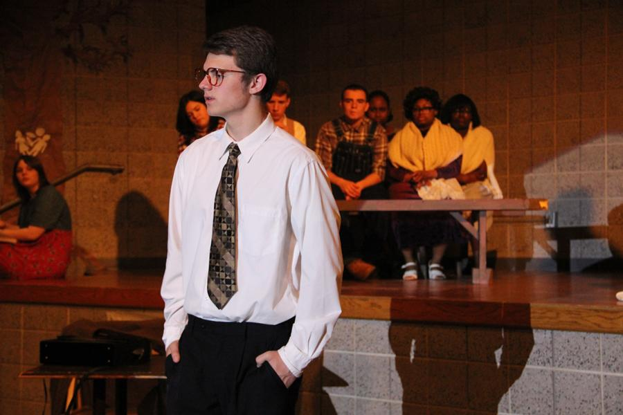 Atticus Finch, played by Brett Balicki (11), appeals to the jury. Finch was hired to defend black man Tom Robinson after he is accused of taking advantage of a white girl.