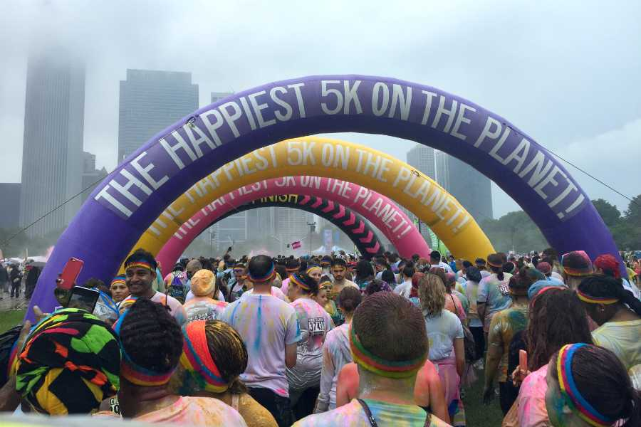 At the finish line, four inflatable arches stand marking the end of the race. The Color Run was nicknamed