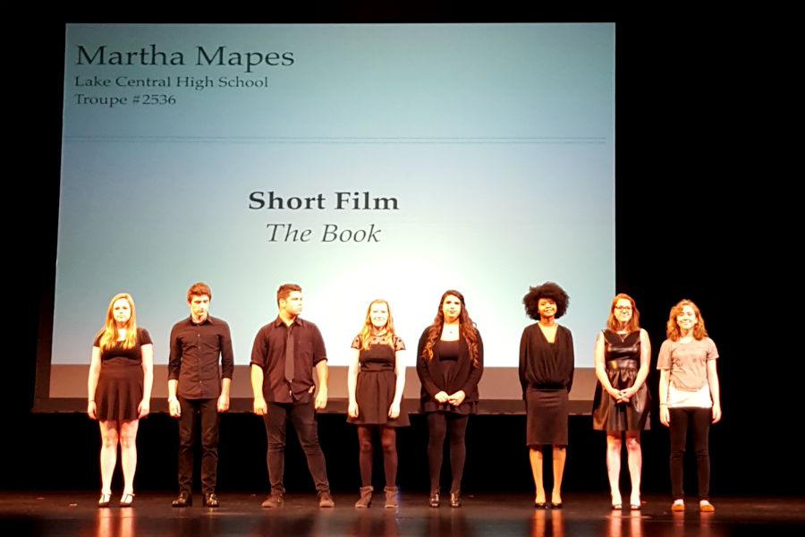 Martha+Mapes+%2812%29%2C+far+right%2C+stands+with+all+of+the+thespians+featured+in+the+National+Individual+Event+Showcase.+Her+short+film%2C+titled+%E2%80%9CThe+Book%2C%E2%80%9D+was+named+the+best+in+the+nation.+Photo+submitted+by+Mr.+Ray+Palasz%2C+English.
