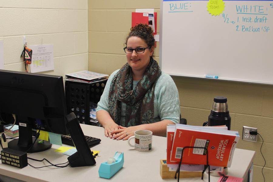 Mrs. Janette Snelson, English,  is a new teacher at Lake Central. She sat at her desk with her Shakespeare coffee mug after school.