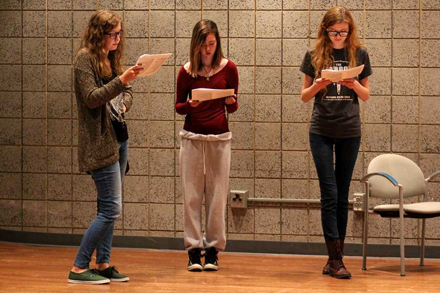 Sophia Boeckstiegel (10), Cora Sakal (11),  and Nichole Heusmann (12) audition for contest play. Each gave forth their best effort and had excellent teamwork during auditions.