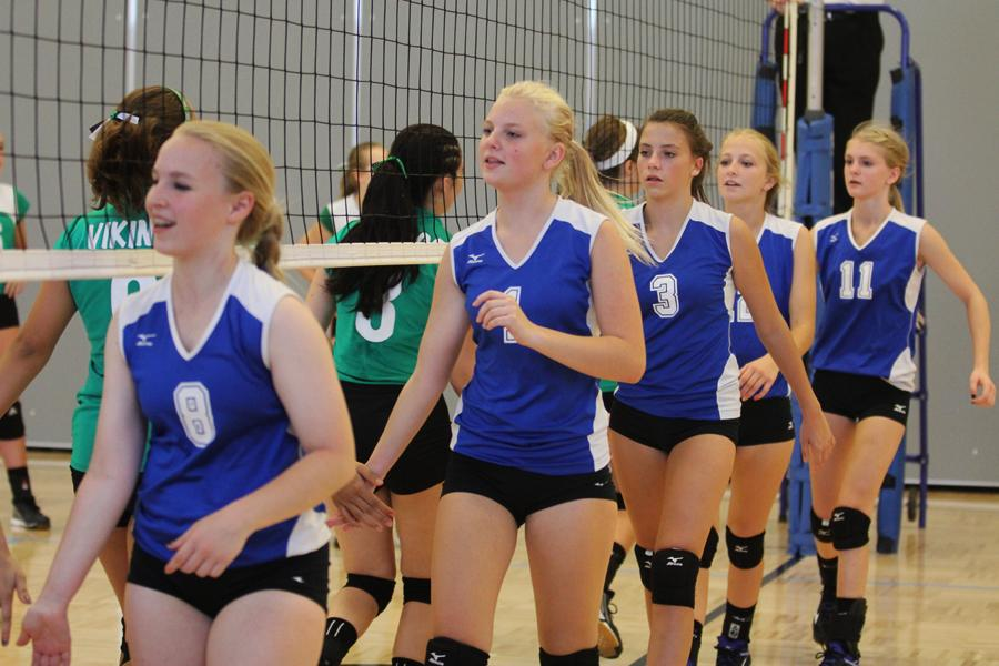 Rylee Anderson (9), Ashley Robinson (9), Kailey Lessentine (9), Alexa Sherlund (9) and Emily VanDeursen (9) slap the opposing team's hands after securing the win. The Indians won the match.