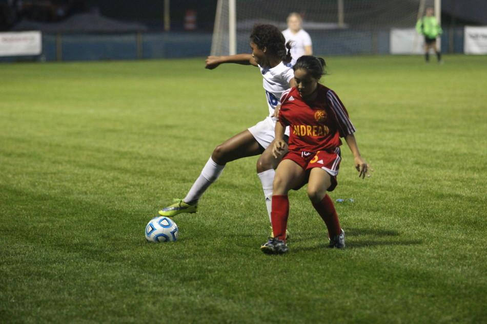 Gilian Suroviak (10) steals the ball from the Andrean player. The score was 2-0 with Lake Central in the lead.