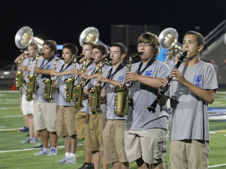 Members of marching band perform during the first home football game of the season against East Chicago Central.  The first home game was held on Friday, Aug. 28. Photo by: Sofia Hay