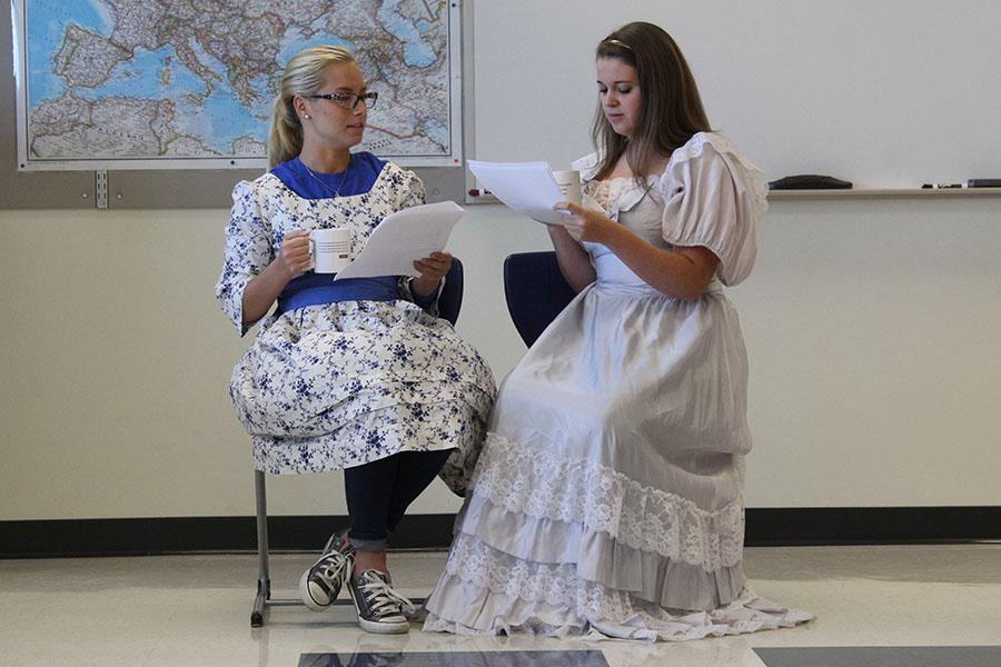 AP English 12 students Joule Tazbir (12) and Elise Bereolos (12)  act out the novel The Awakening by Kate Chopin. This was one of five literary works assigned for summer reading.