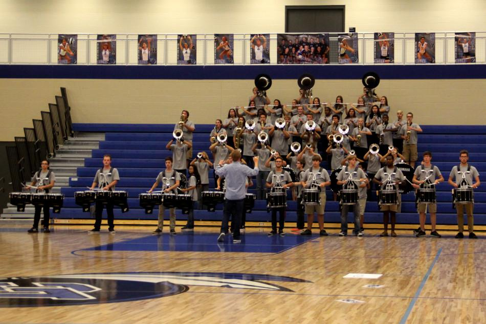 The Wind Ensemble performs at the pep rally. The pep rally, which was meant to raise anti-bullying awareness, was held on Oct. 9.