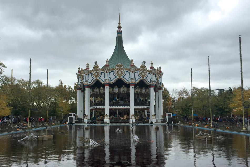 Upon entering the Six Flags Great America, guests are greeted by the Columbia Carousel. Nov. 1 is the last day of Fright Fest.