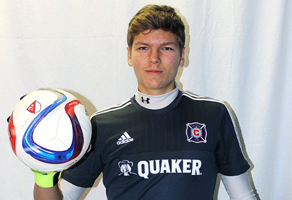 Kyle Orciuch (10) poses in his practice uniform. Orciuch plays for the Chicago Fire Academy as a goalkeeper.