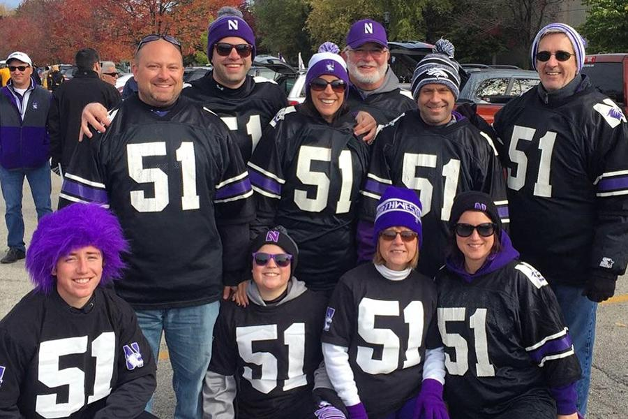 Gavin Gescheidler (10) and his family attend a Northwestern football game. Gescheidler and his family regularly attend the football games to support their cousin Pat Fitzgerald.