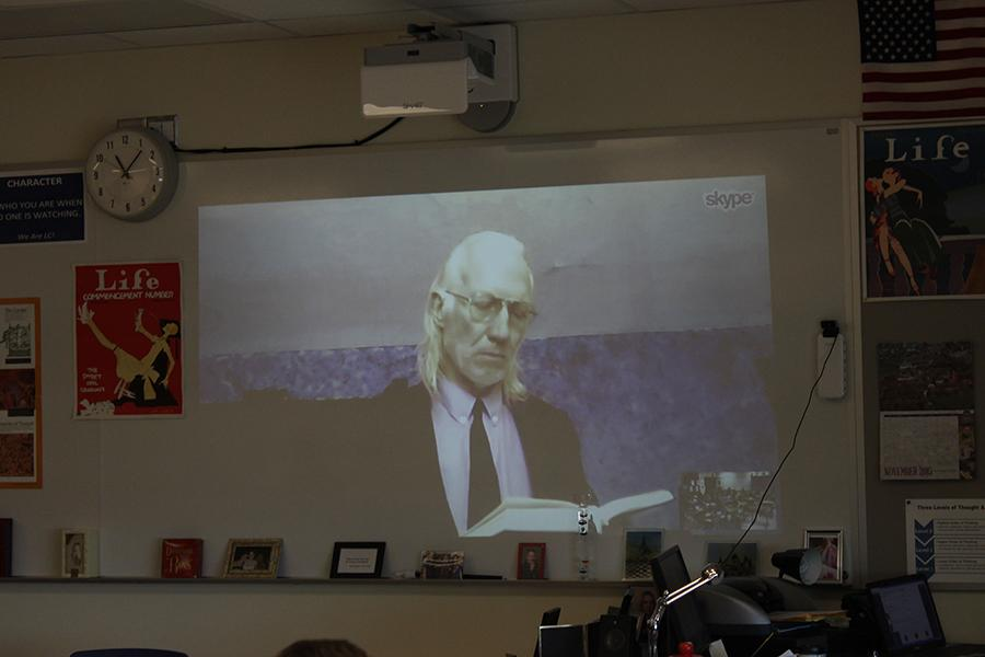 "Mr. Ron Fredrick, English, conducts a lecture on John Milton's ""Paradise Lost"" over Skype to his AP English 12 students. Mr. Fredrick used Skype to conduct class when he was not able to come to school."