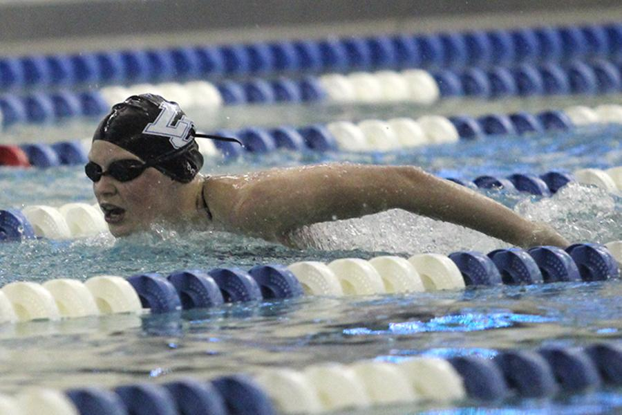 Rachel Albright (10) races in the 100-meter butterfly at a meet against Portage. Albright placed second in the race.