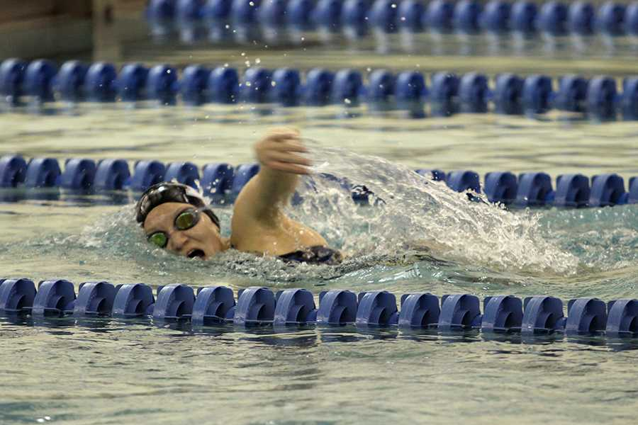 Mia Rinaldi (9) is one of the three freshmen on girls' varsity swimming. Rinaldi had been swimming since she was five. Photo by: Paityn Emro