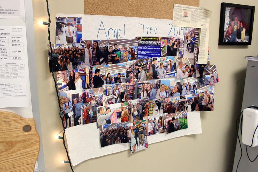 A+collage+from+last+year%E2%80%99s+angel+tree+project+hangs+in+Mr.+Robert+Kania%E2%80%99s%2C+Science%2C+classroom%2C+along+with+an+article+written+by+Jim+Peters+from+the+NWI+Times.+Mr.+Kania+has+made+angel+tree+memories+as+early+as+his+senior+year+in+high+school.+